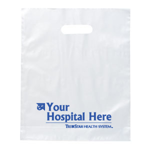 "TCT182 - Frosted Clear 12"" Plastic Bag with Handles<br><font color=#1fba2d>Production Time: 5-7 Days</font><br><font color=#ff0000><i>As Low As: $0.40</i></font> - thumbnail"
