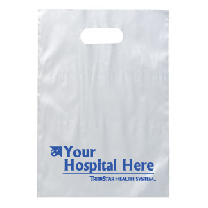 "TCT183 - Frosted Clear 9 1/2"" Plastic Bag with Handles<br><font color=#1fba2d>Production Time: 5-7 Days</font><br><font color=#ff0000><i>As Low As: $0.38</i></font> - thumbnail"